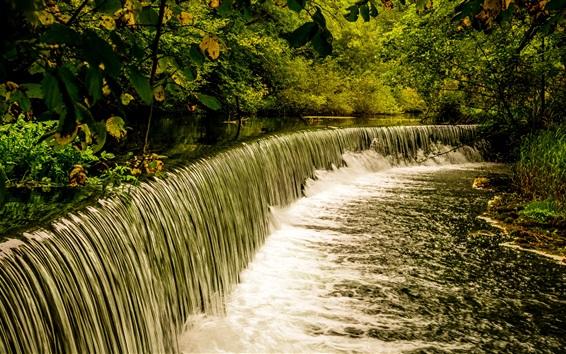 Обои Водопад, кустарники, река, Дербишир, Великобритания