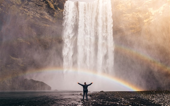 壁紙 滝、虹、男