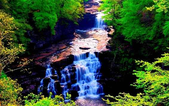 Wallpaper Waterfall, river, nature, trees, green