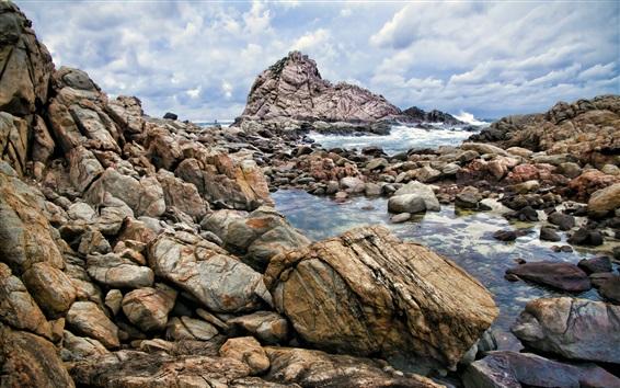 Papéis de Parede Oeste, austrália, Leeuwin-naturaliste, nacional, parque, pedras, nuvens