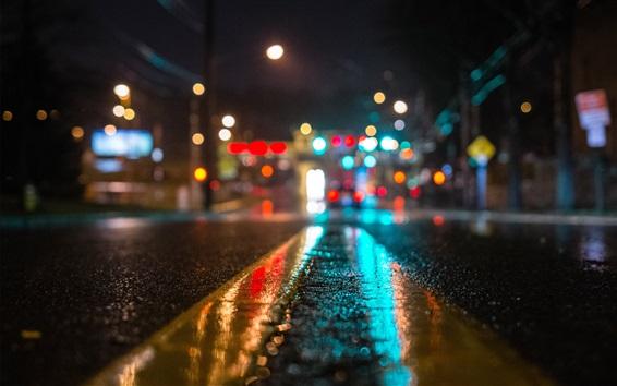 Wallpaper Wet road, city, lights