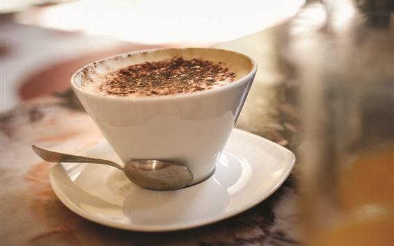 Обои Белый кофе чашки, ложки