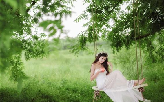 Wallpaper White dress Asian girl, swing, apple, forest