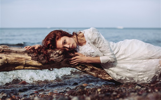 Wallpaper White dress girl, rest at coast, white dress, stones