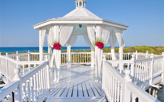 Wallpaper White gazebo, wedding, sea, summer