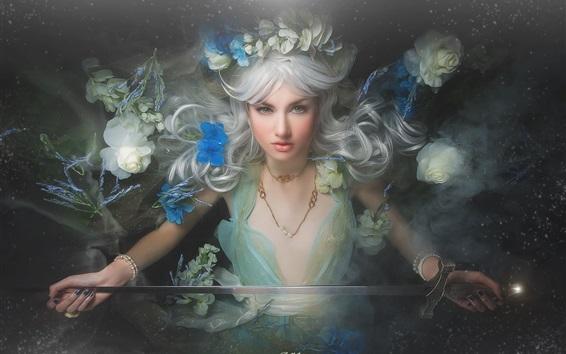 Fond d'écran Fantaisie aux cheveux blancs, couronne, épée