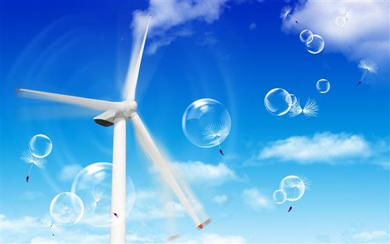Обои Ветряная мельница, голубое небо, пузыри