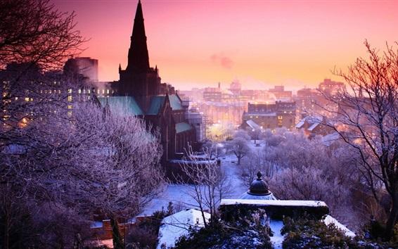 Wallpaper Winter, city, dusk, trees, snow, houses, lights