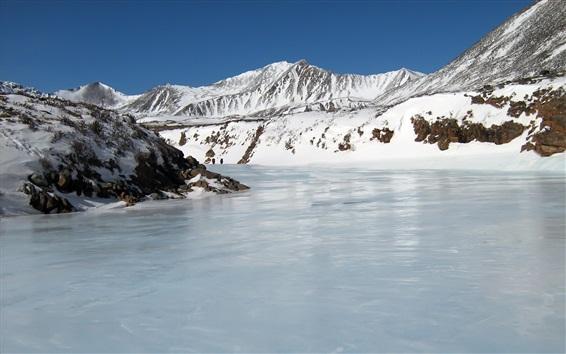Wallpaper Winter, mountains, snow, ice, frozen river