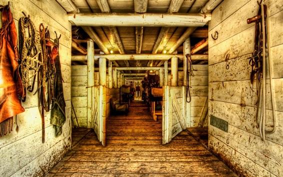 Papéis de Parede Casa de madeira, cavalos, porta, canal