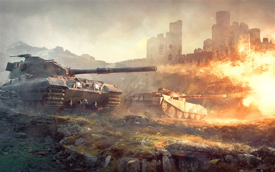 Wallpaper World of Tanks, games, fire, flame