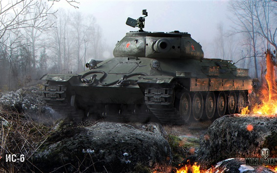 Wallpaper World of Tanks, trees, fire, game