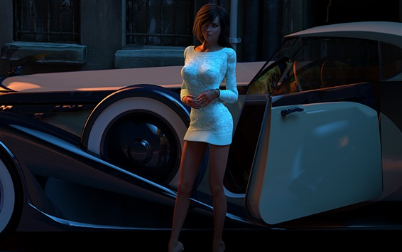 Wallpaper 3D rendering, girl and car at street