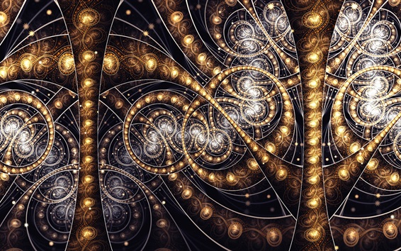 Обои Абстрактные фрактальные узоры, золотой цветной свет