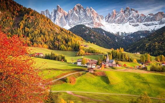 Wallpaper Alps, Italy, village, houses, trees, mountains, fields, beautiful landscape