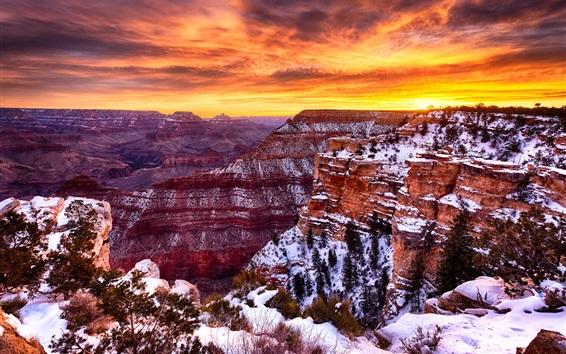 Wallpaper America, Grand Canyon beautiful landscape, winter, snow, sunset