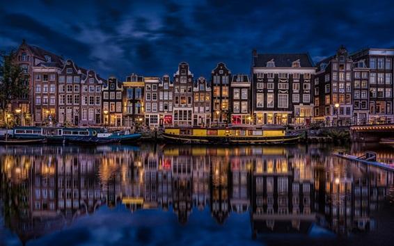 Papéis de Parede Amsterdã, Países Baixos, bela cidade noturna, rio, casas, edifícios, luzes