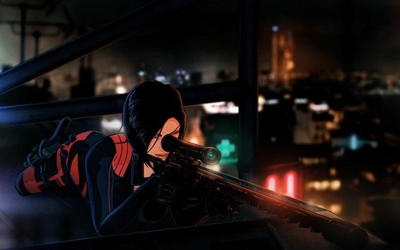 Обои Аниме девушка, крыша, Париж, снайперская винтовка, ночь