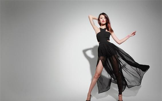 Fond d'écran Asiatique, jupe noire, pose