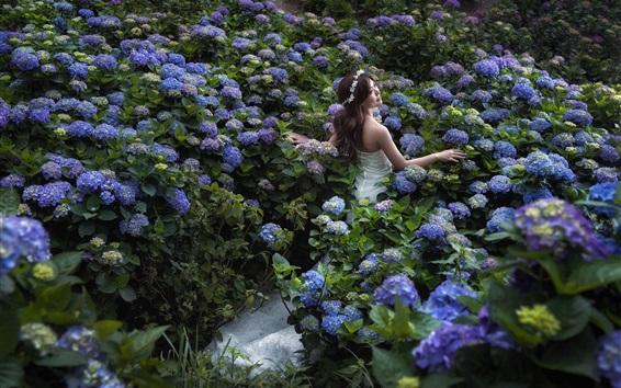 Wallpaper Asian girl, bride, wedding dress, blue hydrangeas