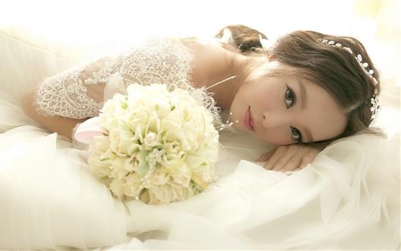 Wallpaper Asian girl, bride, wedding, flowers