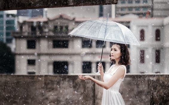 Wallpaper Asian girl, heavy rain, umbrella