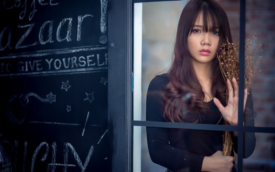 Wallpaper Asian girl look out from the window