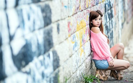 Wallpaper Asian girl, pink clothes, back to the wall
