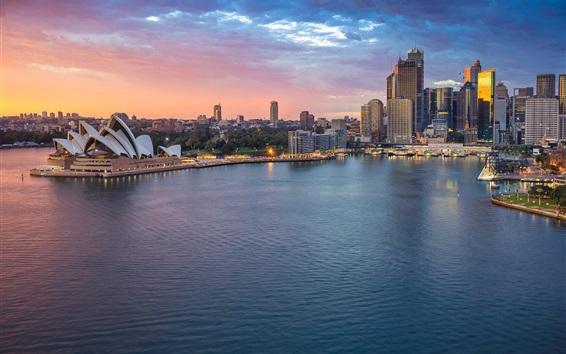 Fond d'écran Australie, Sydney, Opéra, mer, gratte-ciel