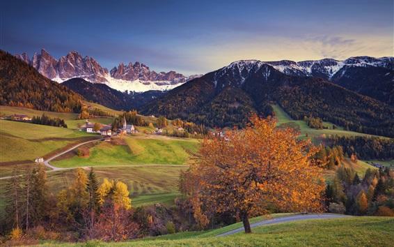 Fond d'écran Automne, arbres, montagnes, ville, Alpes, Italie