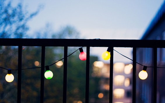 Balcony, colorful light, dusk Wallpaper Preview
