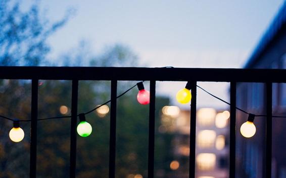Обои Балкон, яркий свет, сумерки