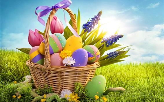 Обои Корзина, цветы, яйца, трава, солнце, пасхальная тема
