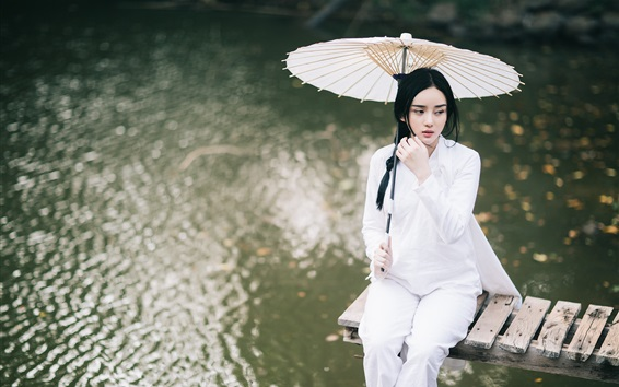 Wallpaper Beautiful Chinese girl, white dress, umbrella, pier, lake