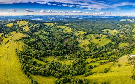 Wallpaper Beautiful landscape, top view, trees, village, greens, Czech Republic