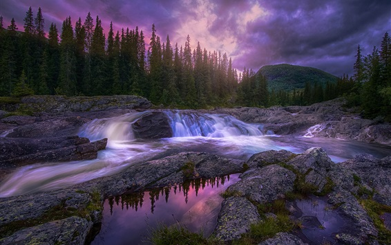 Wallpaper Beautiful nature, forest, trees, mountains, stream, stones, sunset