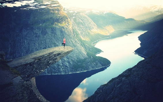 Wallpaper Beautiful nature landscape, lake, mountains, rocks, sun rays, girl, yoga