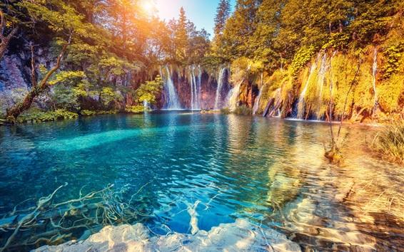 Wallpaper Beautiful waterfall, lake, trees, sun rays