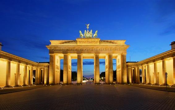 Wallpaper Berlin, Brandenburg, Germany, gate, lights, night