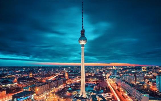 Wallpaper Berlin, Germany, city, tower, lights, night