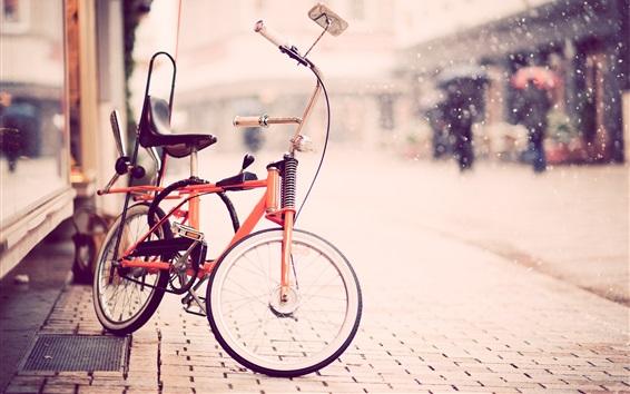 Papéis de Parede Bicicleta, rua, neve