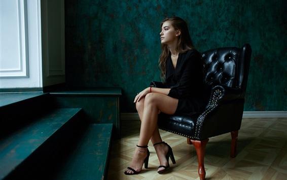 Wallpaper Black dress girl sit on sofa