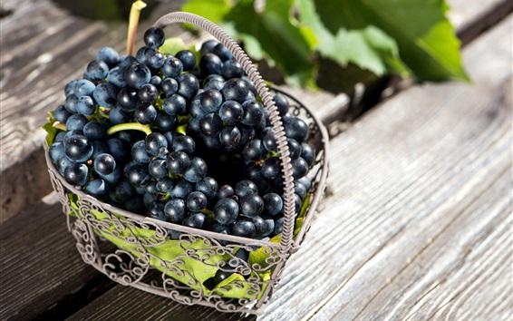 Wallpaper Black grapes, fruit, basket