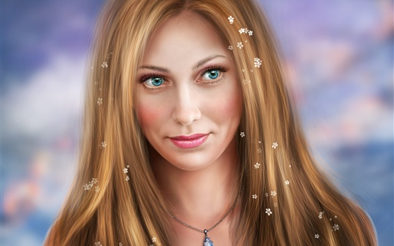 Wallpaper Blonde girl, blue eyes, fantasy