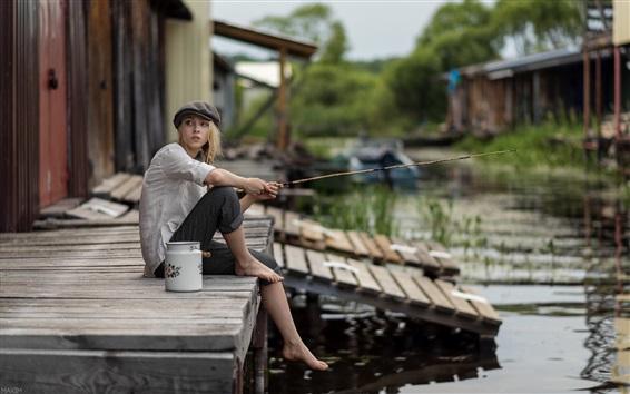 Wallpaper Blonde girl fishing