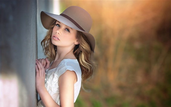 Wallpaper Blonde girl, look, hat