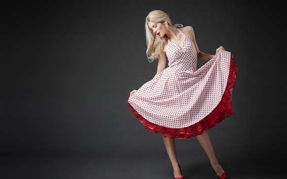 Wallpaper Blonde girl, red spotted skirt