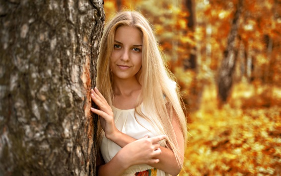 Wallpaper Blonde girl, trees, autumn
