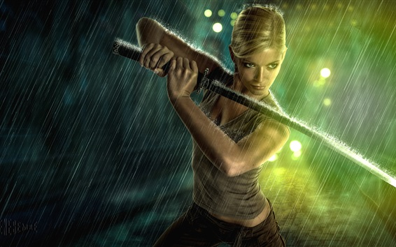 Wallpaper Blonde girl use sword in rain