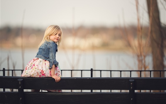 Wallpaper Blonde little girl look back, child, fence